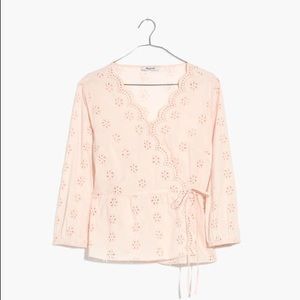 Madewell Scalloped Eyelet Wrap Top in Antique Lace